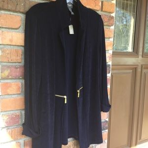 Chico's Travelers Navy knit jacket Small/4 Chico 0